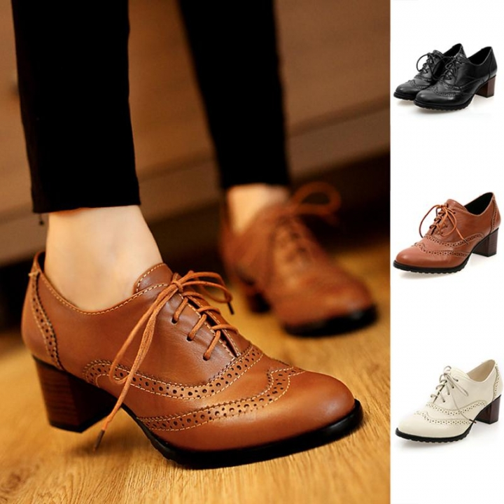 c29b4d753f6d Thick Heel High Heels Oxford Shoes Women Vintage British Style Lace Up Women  Pumps Shoes Woman