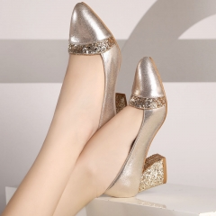 Women Pumps Sweet Style Square High Heel Sequins Pointed Toe Elegant Shallow Ladies Shoes gold 35