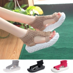 Women Thick Heel Sandals Summer Platform Shoes Ladies Hand-Woven Sexy Flat Zapatos Mujer Sandalias brown 36