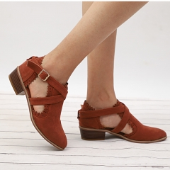 Ankle Boots Female Hollow Low Heel Shoes Women Buckle Strap Short Boot Casual Cut Out Chunky Heels brown 35