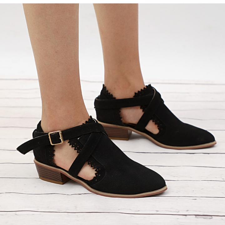 c7af11a61e43 Ankle Boots Female Hollow Low Heel Shoes Women Buckle Strap Short Boot  Casual Cut Out Chunky