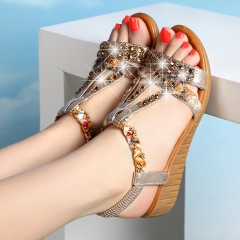 Bohemia Women Sandals Luxury Rhinestone Wedhes Ladies Sandals Ethnic Elastic Band Casual Shoes gold 34