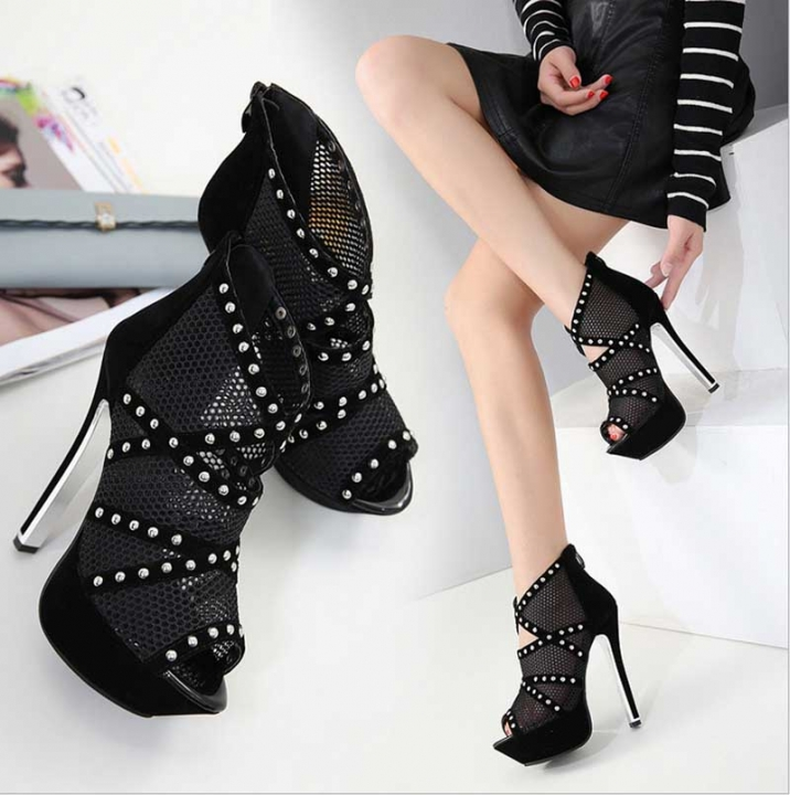 2e2b3768b936 Fashion New Womens High Heels Party Sexy Platform Pumps Peep Toe Mesh Shoes  Lace Up Sandals