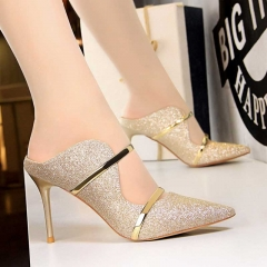 Sexy High Heels Shoes Fashion Women Platform Pumps For Party Wedding Shoes Night Club Heels 9CM gold 35