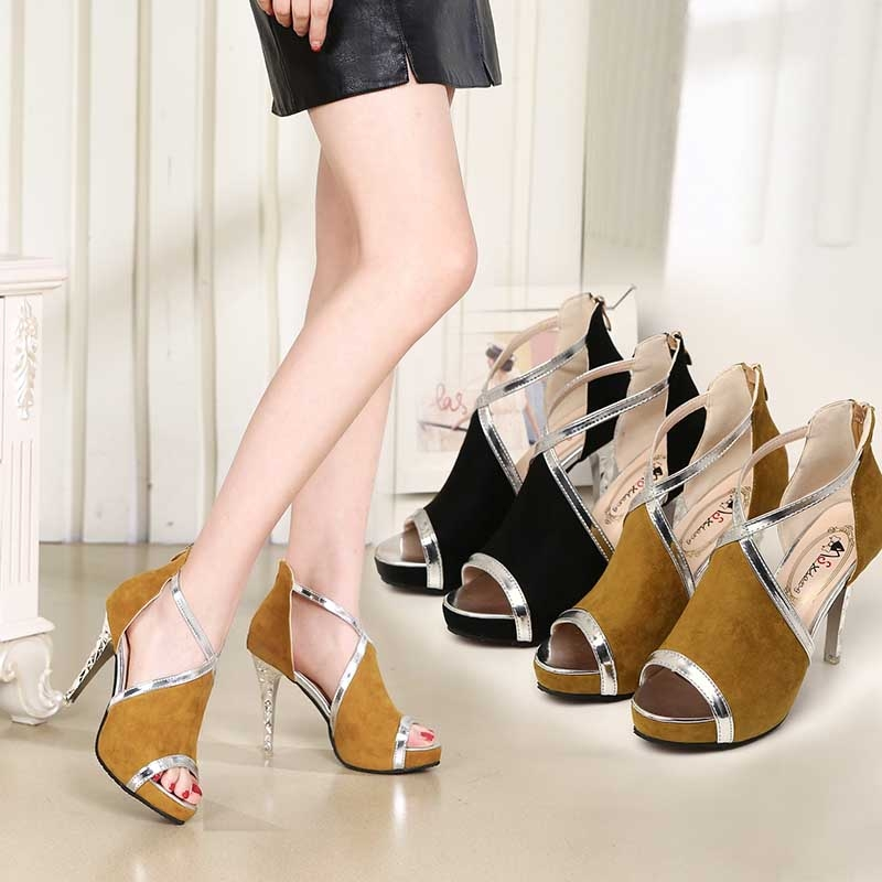 087aadc20514d4 Women Peep Toe zipper Platform Pumps Sexy Extrem Thin High Heel ...