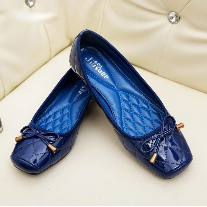 bc84e33781fd New Patent Leather Flat Women Ballet Flats Shoes Women Square Toe Bowtie  Shoes blue 39