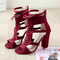 Women Ladies Sandals Pointed Toe Hot Sale High Heels Zip Office Solid Straps New Arrival Heel Shoes red 41