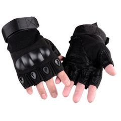 Fingerless Gloves Military Army Shooting Paintball Airsoft Motorcross Combat Hard Half Finger Glove Black M