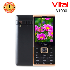 Vital V1000, 2500mAh, Facebook, 1.3MP, FM, 16MP ROM+8MP RAM, Mobile phone, Featured Phone black&gold