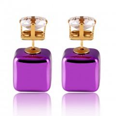 Square Zircon Earrings purpler One Size