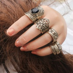4 sets of rings hollow carved retro ring black diamond diamond ring set gold free size
