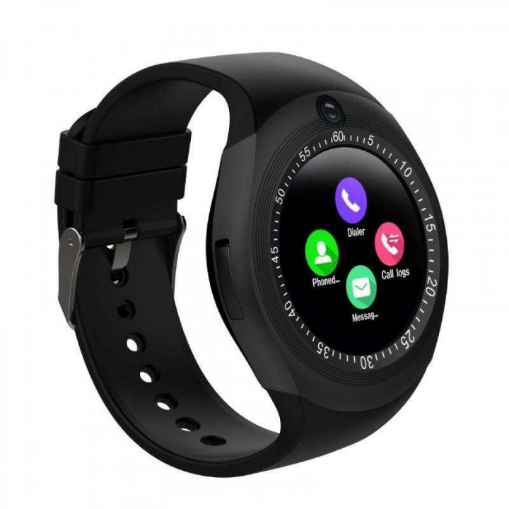 Y1 Sporty Smart Phone With Sim toolkit Touchscreen Watch - Black black 128MB