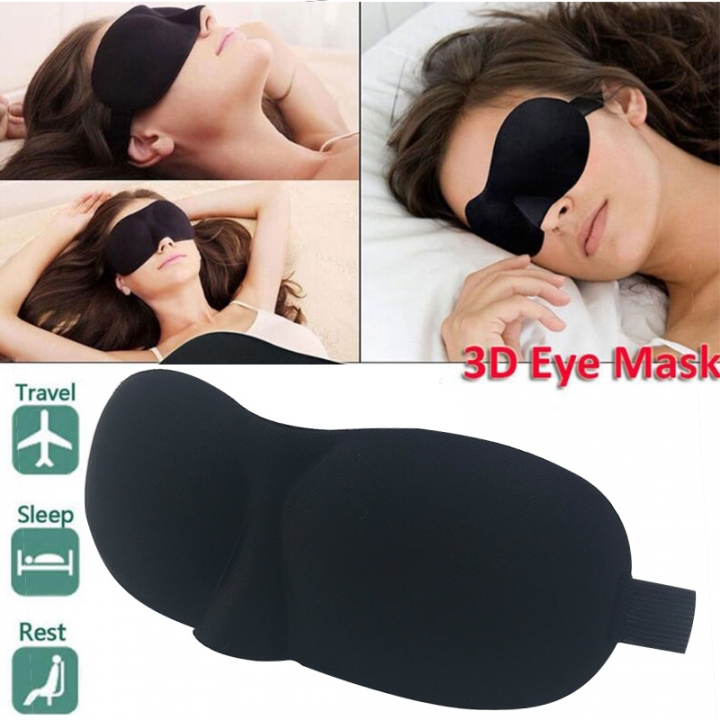 3D Eye Mask Nap Cover Blindfold Sleeping Blinder Eyepatch Sleep Goggles Travel black