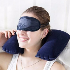 3pcs Set Inflatable U Shaped Travel Pillow Neck Head Rest Air Cushion for Travel Office Random random
