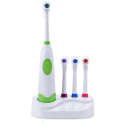 Electric Toothbrush Waterproof Dental Care Revolving Toothbrush Heads + 3 Nozzles Oral Hygiene green