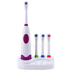 DISCOUNT Electric Toothbrush Waterproof Dental Care  Toothbrush Heads + 3 Nozzles Oral Hygiene purple