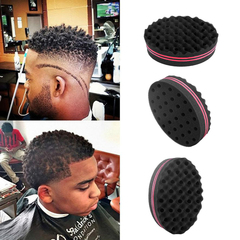Magic Curl Twist Sponge hair Brush Afro Curly Weave Oval Double Sided Flat Wavy Dreads  combs Black as pic
