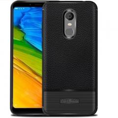 Xiaomi Redmi Note 5 Plus Litchi Pattern Leather Shockproof Soft TPU Phone Cover Case Black for Redmi Note 5 Plus