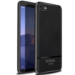 Xiaomi Redmi 6A / Redmi 6 Plus Litchi Pattern Leather Shockproof Soft TPU Phone Cover Case Black for Redmi 6A