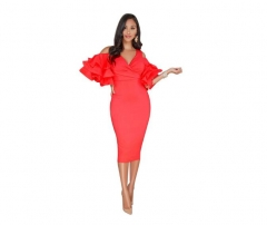2018 Women Sexy Party Dresses Casual Ruffle Dress S Red