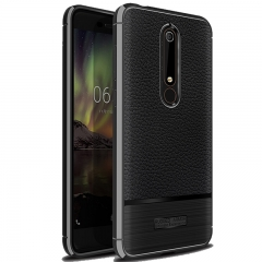 Shinwo Nokia 6.1 2018 Smartphone Litchi Pattern Leather Shockproof Soft TPU Phone Case Cover Black for Nokia 6.1 2018 Smartphone