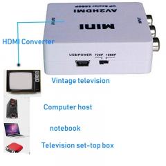 Mini RCACVS 3 RCA Composite Video AV to HDMI Converter for TV/PC/PS3/Blue-Ray DVD