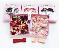 18 PCS Girl Hair Accessories Gift Set Hair ClipsGirls Jewelry Set Hair Braid Light Pink