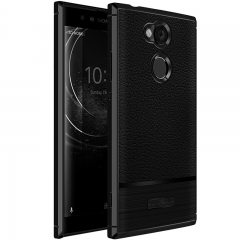 Sony XA2 Ultra Litchi Pattern Leather Rugged Shockproof Soft TPU Protective Cover Case Black for Sony XA2 Ultra