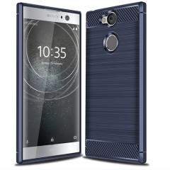 Shinwo Sony Xperia XA2 Case Rugged Armor Carbon Fiber Soft TPU Shock Proof Protective Case Cover Blue for Sony Xperia XA2 Smartphone