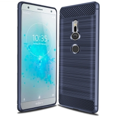 Sony Xperia XZ2 Smartphone Case Rugged Armor Carbon Fiber Soft TPU Shock Proof Protective Case Cover Blue for Sony Xperia XZ2 Smartphone