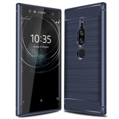 Sony Xperia XZ2 Premium Case Rugged Armor Carbon Fiber Soft TPU Shock Proof Protective Case Cover Blue for Sony Xperia XZ2 Premium Smartphone
