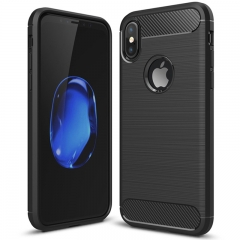 iPhone X/iPhone 10 Case Rugged Armor Carbon Fiber Soft TPU Shockproof Protective Case black for iPhone X/iPhone 10