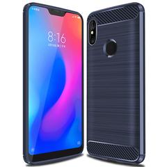 Xiaomi A2 Lite Smartphone Case Rugged Armor Carbon Fiber Soft TPU Shockproof Protective Case Blue for Xiaomi A2 Lite