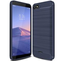 Redmi 6A Smartphone Case Rugged Armor Carbon Fiber Soft TPU Shockproof Protective Case Blue for Redmi 6A Smartphone