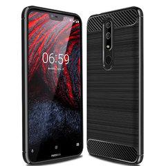 Shinwo Nokia 6.1 Plus Smartphone Case Rugged Armor Carbon Fiber Soft TPU Shockproof Protective Case Black for Nokia 6.1 Plus 5.8''