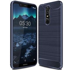 Nokia 5.1 Plus Smartphone Case Rugged Armor Carbon Fiber Soft TPU Shockproof Protective Case Blue for Nokia 5.1 Plus
