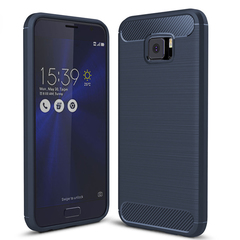 ASUS ZenFone V [520KL] Smartphone Case Rugged Armor Carbon Fiber Soft TPU Shockproof Protective Case Blue for ASUS ZenFone V 5.5''