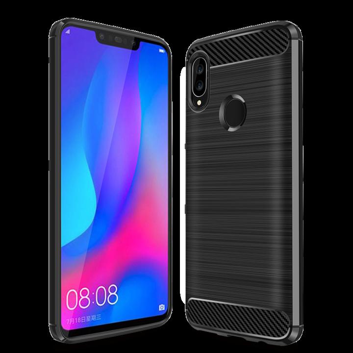 Huawei Nova 3 Smartphone Case Rugged Armor Carbon Fiber Soft TPU Shockproof Protective Case Black for Huawei Nova 3