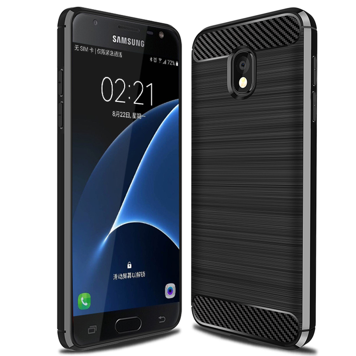 Samsung Galaxy Wide 3 Smartphone Case Rugged Armor Carbon Fiber Soft TPU Shockproof Protective Case Black