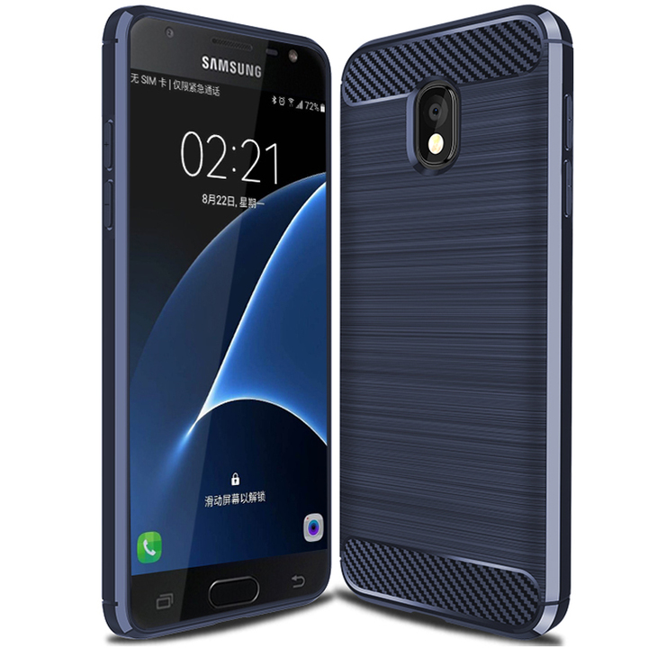Samsung Galaxy Wide 3 Smartphone Case Rugged Armor Carbon Fiber Soft TPU Shockproof Protective Case Blue for Samsung Samsung Galaxy Wide 3