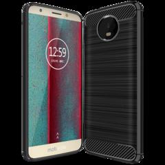 Moto E5 Play Smartphone Case Rugged Armor Carbon Fiber Soft TPU Shockproof Protective Case black for Moto E5 Play