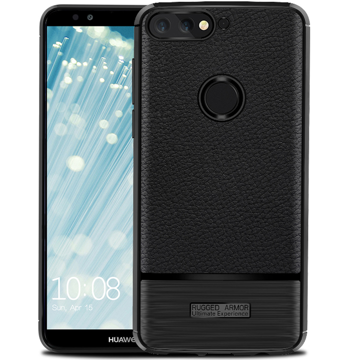 Huawei Honor 7C Pro Smartphone Litchi Pattern Leather Shockproof Soft TPU Phone Case black for Huawei Honor 7C Pro