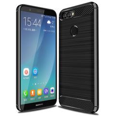 Huawei P Smart Smartphone Case Rugged Armor Carbon Fiber Soft TPU Shockproof Protective Case black for Huawei P Smart 5.65''