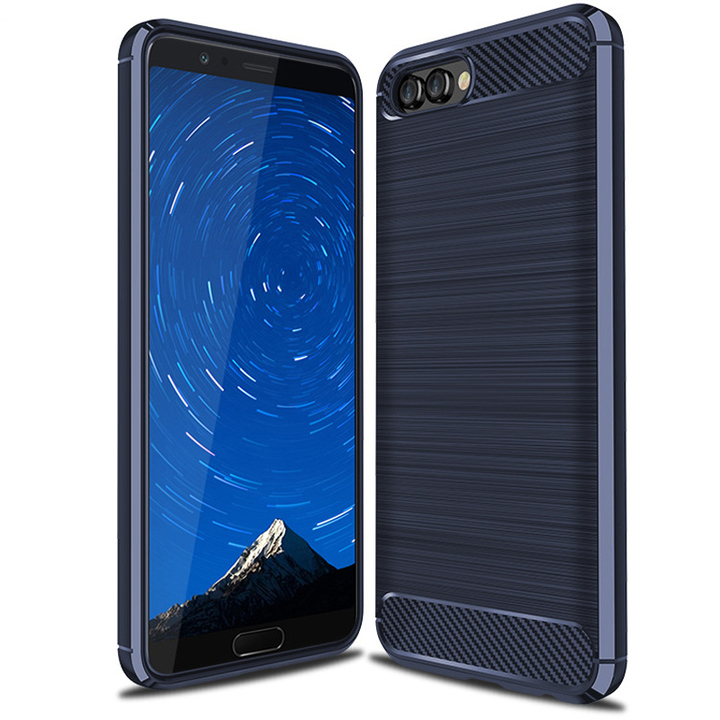 Huawei Honor V10 Case Rugged Armor Carbon Fiber Soft TPU Shockproof Protective Case blue for Huawei Honor V10 Smartphone