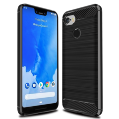 Shinwo Google Pixel 3 XL Smartphone Rugged Armor Carbon Fiber TPU Shock Proof Protective Case black for Google Pixel 3 XL