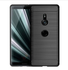 Shinwo Sony Xperia XZ3 Smartphone Case Rugged Armor Carbon Fiber Soft TPU Shockproof Protective Case black for Sony Xperia XZ3 5.7''