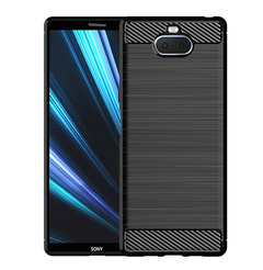 Shinwo Sony Xperia XA3 Smartphone Case Rugged Armor Carbon Fiber Soft TPU Shockproof Protective Case black for Sony Xperia XA3