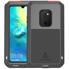 Huawei Mate 20 Silicone+Metal+Tempered Glass Case [360 Degree Full-body Protection] Case Cover Black for Huawei Mate 20