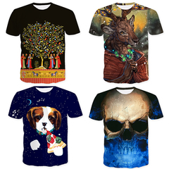 [4-Pack] New Stylish Print T-shirts Trend Fashion 3D T Shirt Summer Tops Tees Men / Boys / Students Pack of 4 S Polyester