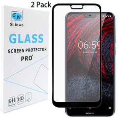 [2-Pack]-Shinwo Nokia 6.1 Plus / Nokia X6 [Full Coverage Tempered Glass] Screen Protector Black for Nokia 6.1 Plus / Nokia X6